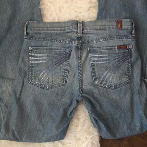 """7FAM Wide Leg Dojo Jeans Rhinestone Size 27 x 30"""""""